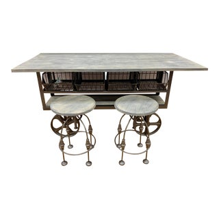 Industrial Style Counter Height Table and Two Stools For Sale