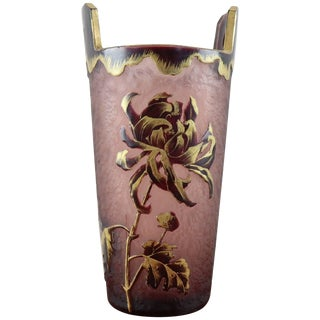 20th Century French Art Nouveau Legras Mont Joye Vase in Frosted Glass For Sale