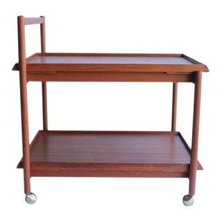 Vintage Mid Century Danish Teak Bar Cart For Sale