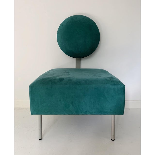 Textile 1980's Vintage Andreu World Contemporary Green Square Lounge Chair For Sale - Image 7 of 7