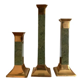 1980s Green Marble and Brass Candlesticks - Set of 3 For Sale