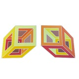 Image of 1970s Vintage Geometric Art Paintings- a Pair For Sale