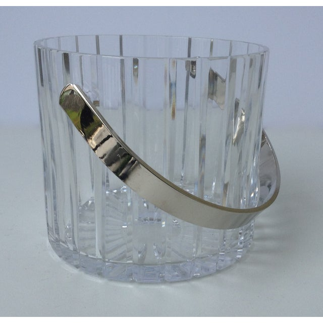 Crystal Faceted Ice Bucket With Chrome Handle - Image 2 of 11