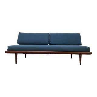 1960s Mid Century Modern Peter Hvidt Navy Blue Upholstered Teak Daybed