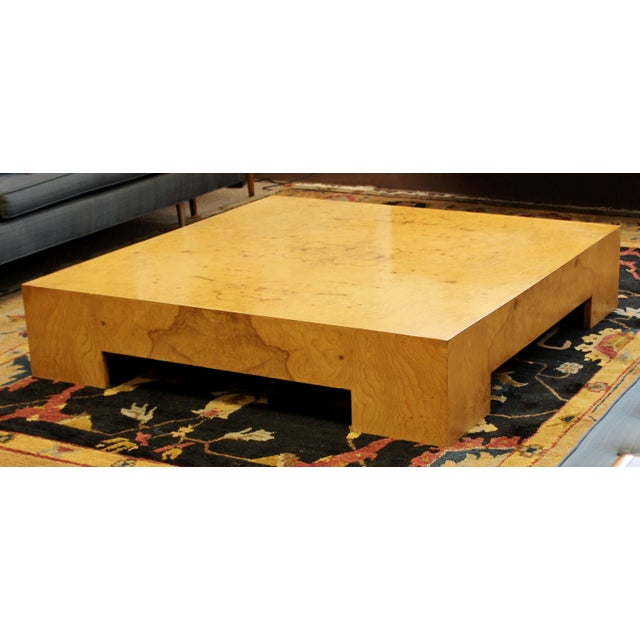 Mid Century Modern Milo Baughman Large Low Square Burl Wood Coffee Table 1970s For Sale - Image 9 of 9