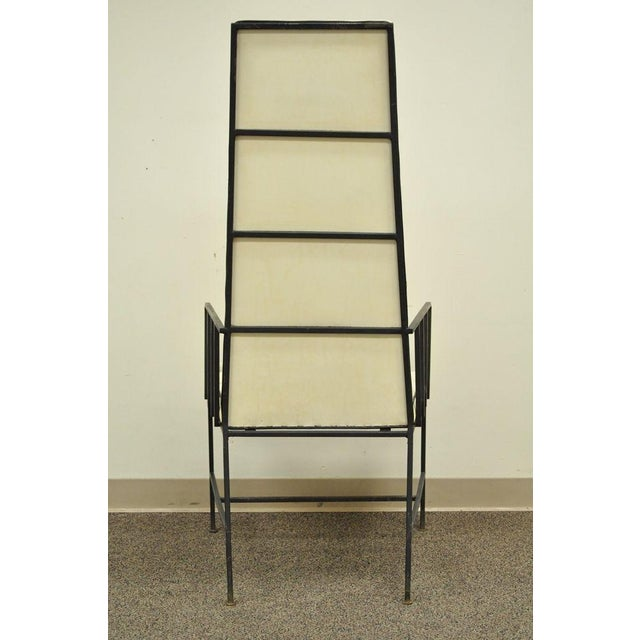 Vintage Mid Century Modern Wrought Iron Arthur Umanoff Paul McCobb Arm Chair For Sale - Image 5 of 11