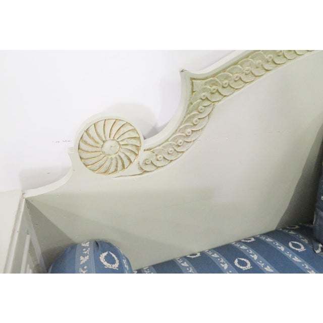Blue Shabby Chic Swedish Gray Carved Sofa For Sale - Image 8 of 10
