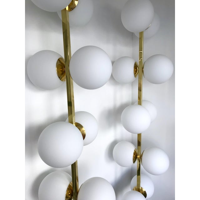 Contemporary Brass Floor Lamps Opaline Ball, Italy For Sale - Image 6 of 13