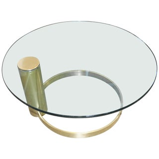 20th Century Modern John Mascheroni Cantilevered Coffee Table Coated in Brass For Sale