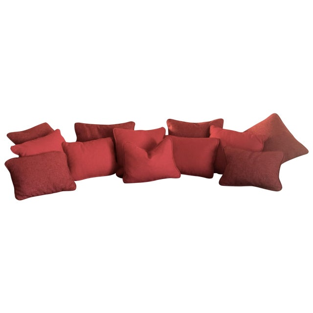 Solid Striated Silk Blend Pillows - Set of 6 - Image 1 of 7