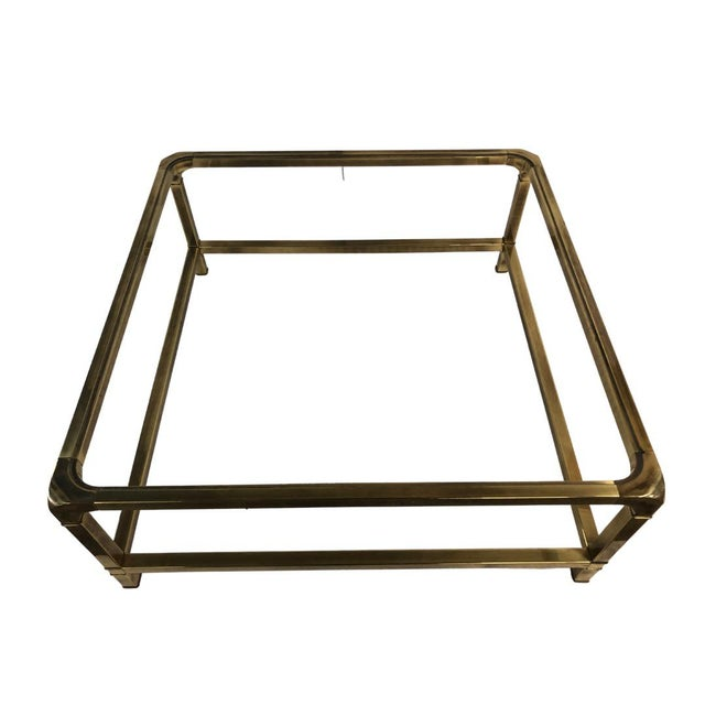 Mastercraft 1960s Modern Mastercraft Brass Coffee Table With Glass Top For Sale - Image 4 of 6