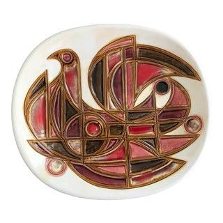 Avraham Gofer Israel Signed Mid Century Studio Art Pottery Ceramic Plate For Sale
