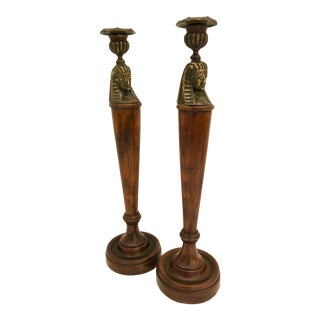 English Egyptian Revival Bronze & Wood Candleholder, A-Pair For Sale