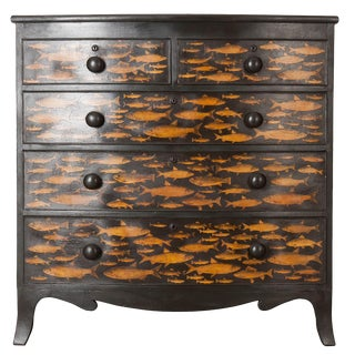 English 19th Century Decoupage Fish Chest of Drawers