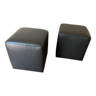 Leather Cube Ottomans - a Pair For Sale