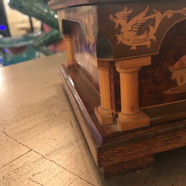 Neoclassical Mid 20th Century Neoclassical Italian Walnut Music Jewelry Box For Sale - Image 3 of 10