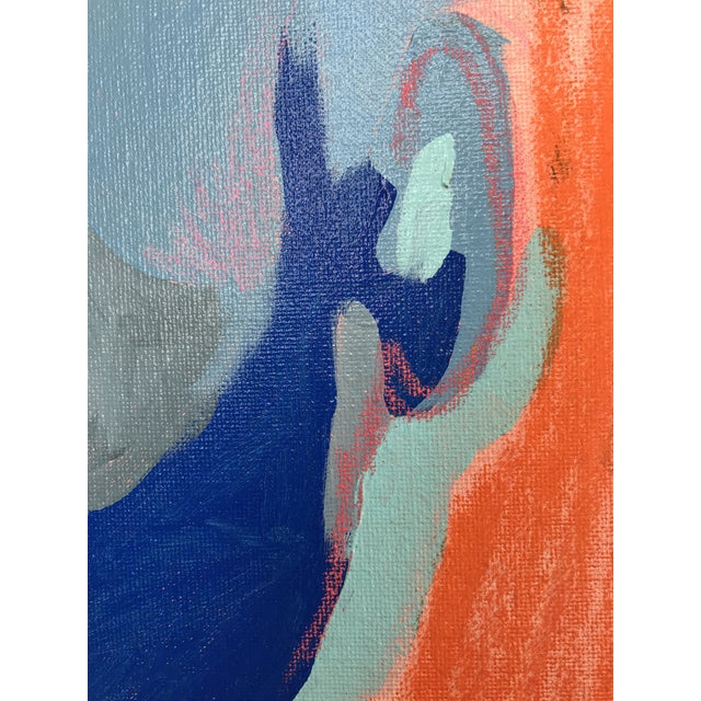 """Canvas Contemporary Abstract Portrait Painting """"Is He Ready to Go - No. 3"""" - Framed For Sale - Image 7 of 12"""