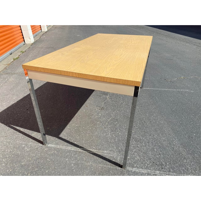 Mid-Century Modern 1980s Vintage Steelcase Metal Writing Desk For Sale - Image 3 of 13