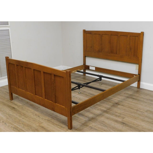 Stickley Mission Collection Oak Queen Size Panel Bed For Sale - Image 12 of 13