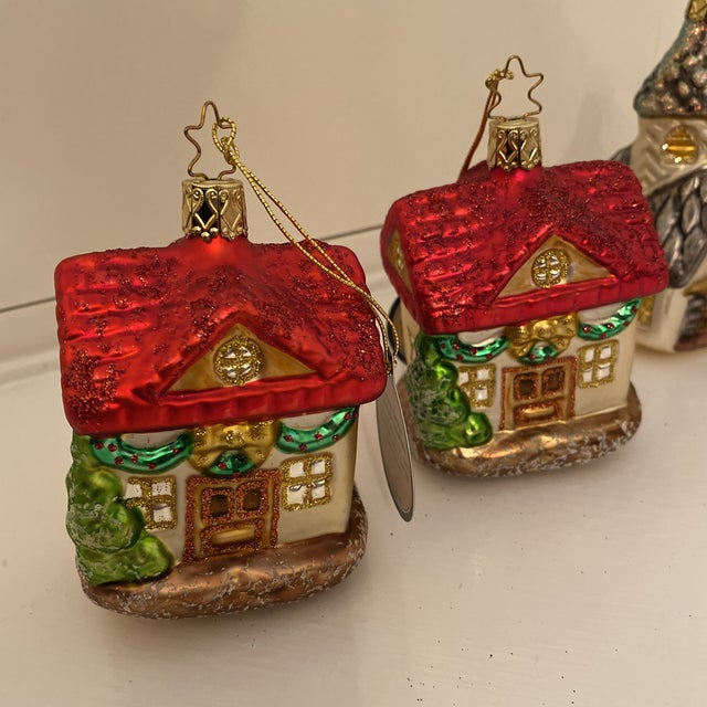 Traditional Inge Church and House Collection Glass Ornaments - Set of 6 For Sale - Image 3 of 11