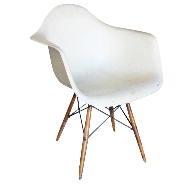 Eames DAW Molded Fiberglass Armchair With Dowel Base For Herman Miller For  Sale