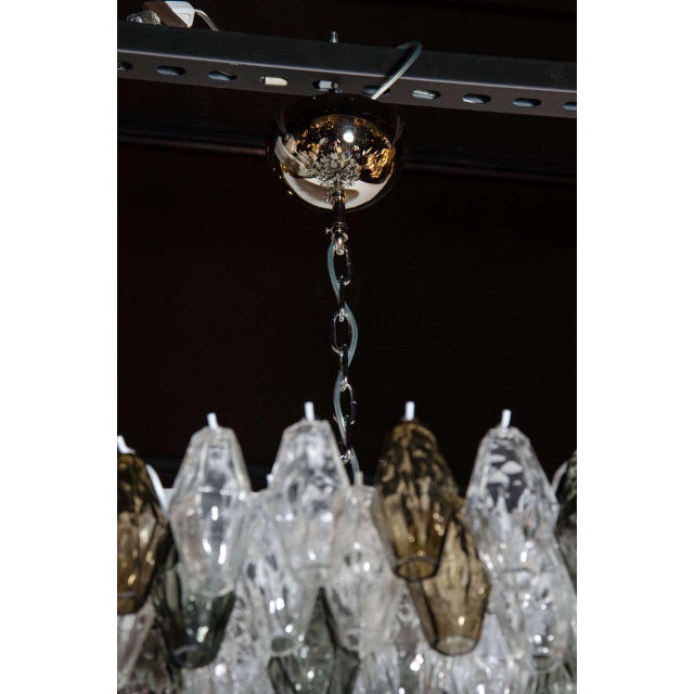 Venini Pair of Spectacular Handblown Murano Glass Polyhedral Chandeliers by Venini For Sale - Image 4 of 8