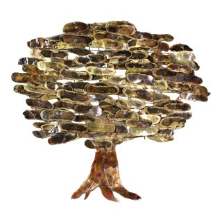 1960s Vintage C. Jeré Early Brutalist Tree Wall Sculpture For Sale