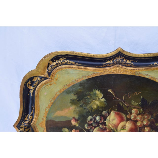 Italian Florentine Gilt Tole Fruits Motif Tray For Sale - Image 3 of 8