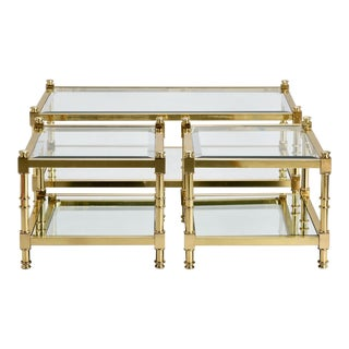 Italian Mid Century Glass and Brass Tables - Set of 3 For Sale