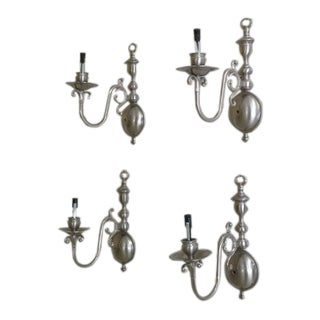 Single Arm Pewter Lighted Wall Sconces - Set of 4