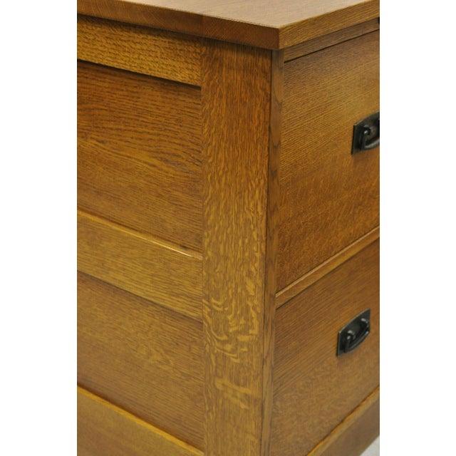 L&j G Stickley Arts & Crafts Mission Oak Wood Two Drawer Office File Cabinet For Sale - Image 11 of 13