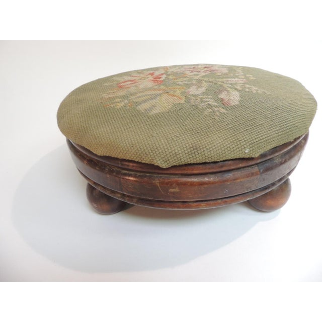 Country Antique Round Tapestry Upholstered Stool For Sale - Image 3 of 4
