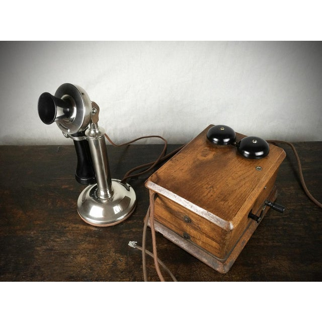 Antique 1910s Nickel Plated Candlestick Telephone - Image 5 of 5