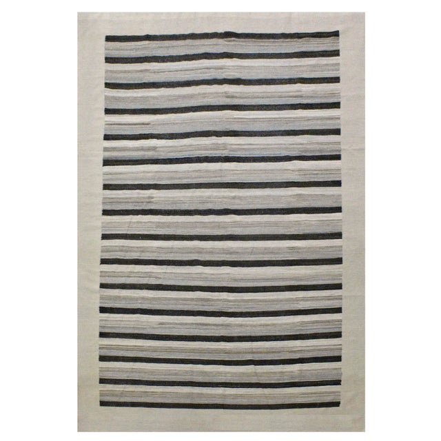 Contemporary Striped Afghan Kilim Rug - 9'9'' x 13'5'' For Sale - Image 4 of 4