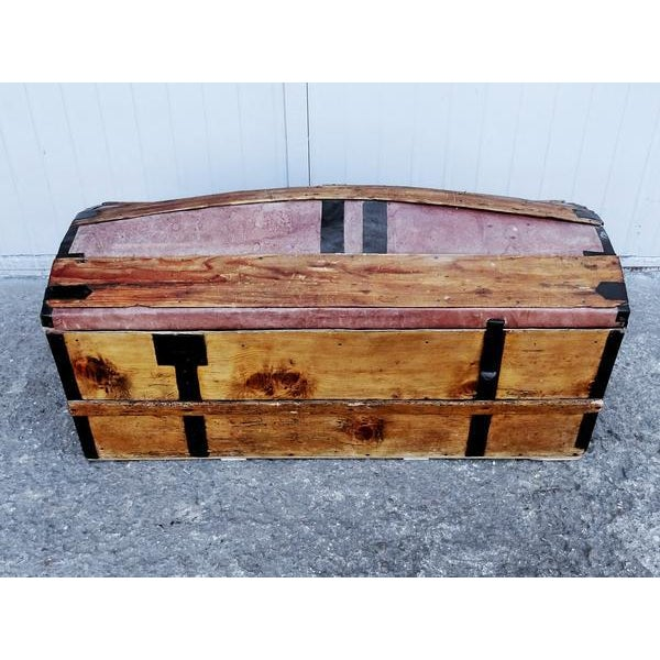 Solid French Storage Trunk With Leather Inserts For Sale - Image 9 of 9