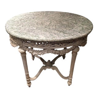 Louis XVI Style Painted Carved Fruitwood Marble-Top Center Table, 19th Century For Sale
