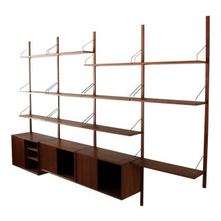 Poul Cadovius Cado Danish Teak 4 Bay Wall Unit Modular Shelving System For Sale