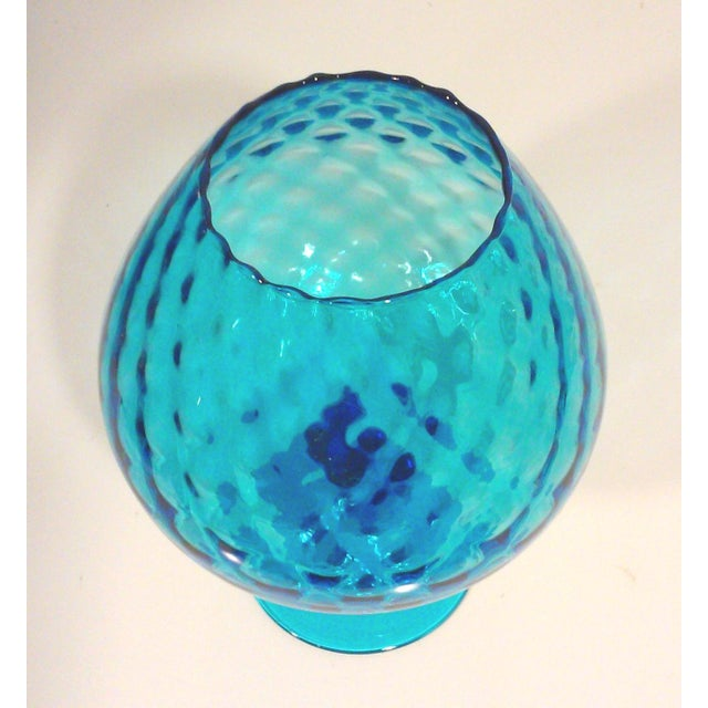 Italian Azure Blue Footed Vases - Pair - Image 4 of 8