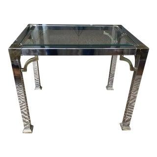Fretwork Chrome Brass Glass Side Table