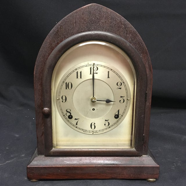 Antique 1910s Seth Thomas Clock Company Wooden Clock For Sale - Image 13 of 13