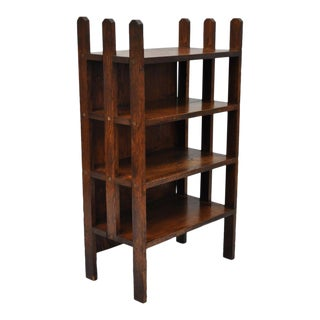 Mission Arts & Crafts Small Oak Whatnot Stand Shelf With Slatted Sides Bookshelf For Sale