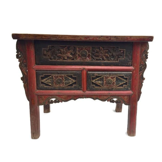 Antique Tibetan Altar Console Table 3 Drawer Chest For Sale - Image 9 of 9