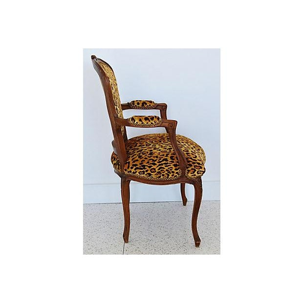 Orange 1950s Leopard Velvet Carved Armchair For Sale - Image 8 of 12