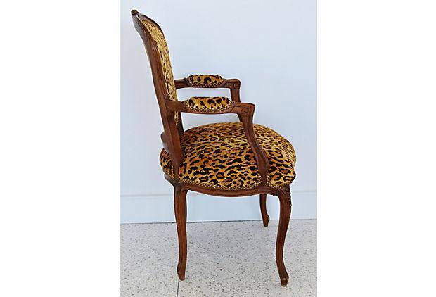Orange 1950s Leopard Velvet Carved Armchair For Sale   Image 8 Of 12