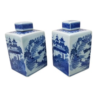 Pair Hand Painted Traditional Ginger Jars For Sale