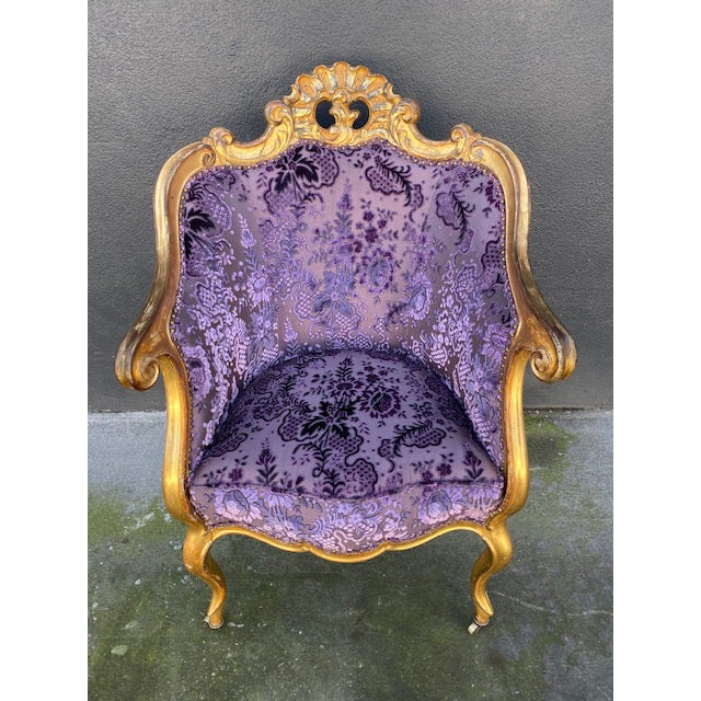 Late 19th C. Italian Giltwood Chair. with new Purple Upholstery