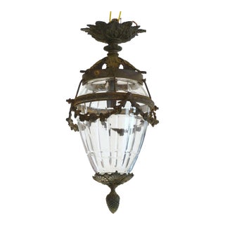 19th Century Antique French Baccarat Louis XVI Style Cut Crystal & Bronze Lantern Ceiling Fixture Chandelier For Sale