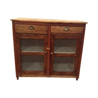Antique Pine Mesh Cabinet For Sale
