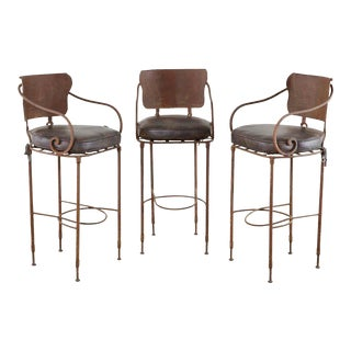 Set of Three Arhaus Iron and Leather Barstools For Sale