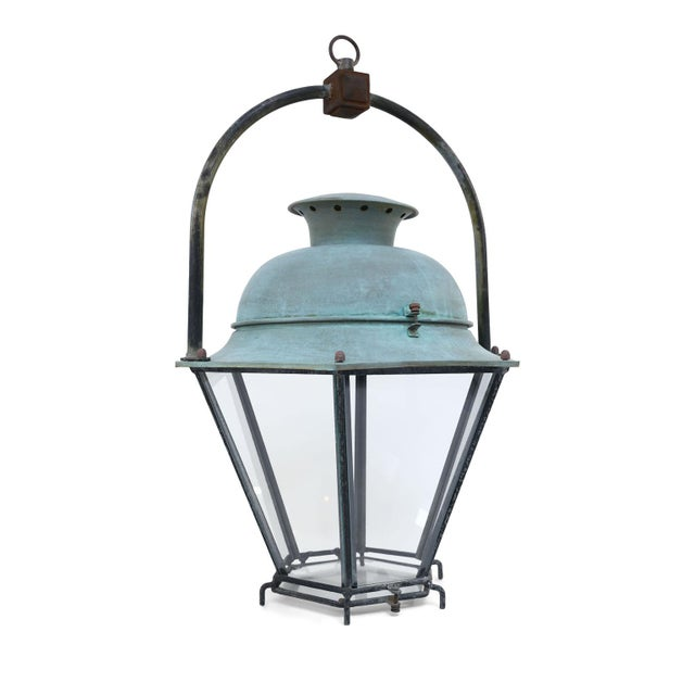 Six-sided iron and copper lantern from France. Tagged: Claude Lefebvre, Tavers, France. Can be wired for electricity or...